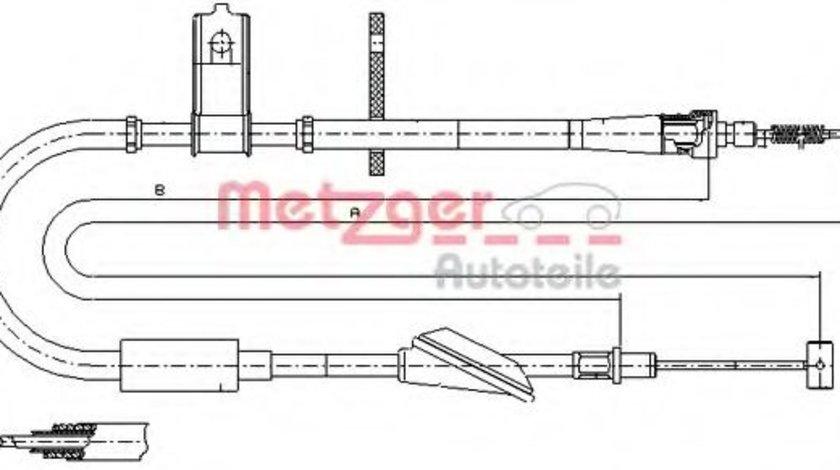 Cablu, frana de parcare OPEL AGILA (A) (H00) (2000 - 2007) METZGER 11.5744 piesa NOUA