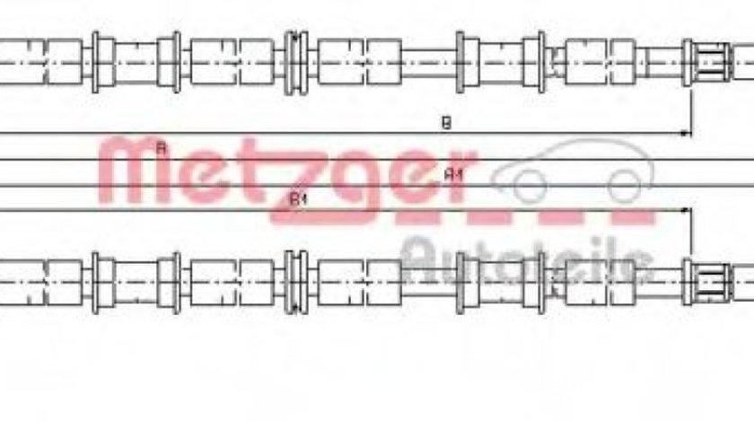Cablu, frana de parcare OPEL ASTRA G Cabriolet (F67) (2001 - 2005) METZGER 11.5863 piesa NOUA