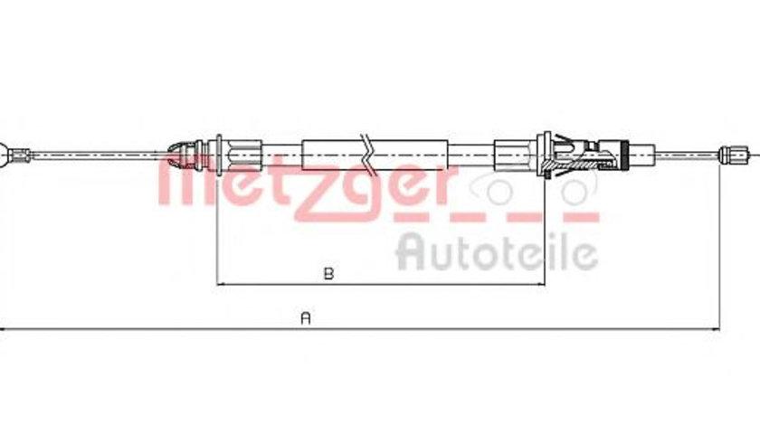 Cablu, frana de parcare RENAULT MASTER II bus (JD) (1998 - 2010) METZGER 10.6854 piesa NOUA