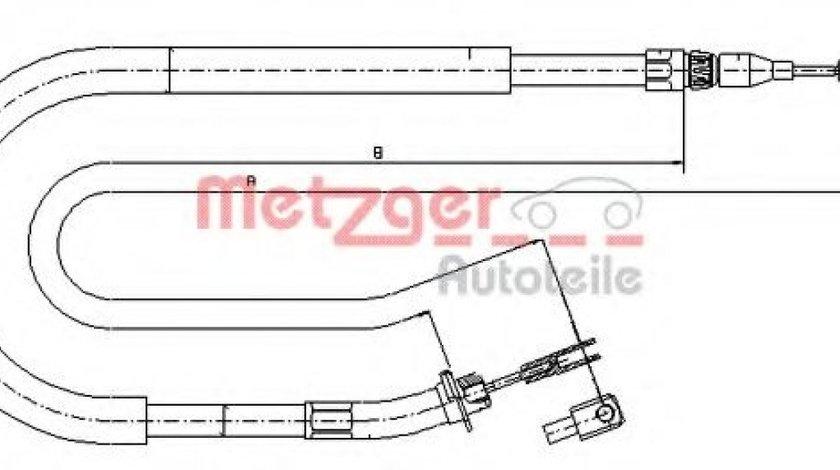 Cablu, frana de parcare VW LT II platou / sasiu (2DC, 2DF, 2DG, 2DL, 2DM) (1996 - 2006) METZGER 10.9873 piesa NOUA