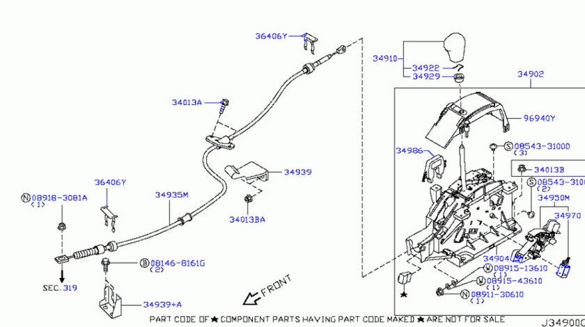 Cablu schimbator (timonerie) viteze Nissan Murano NISSAN OE 34935CA00A