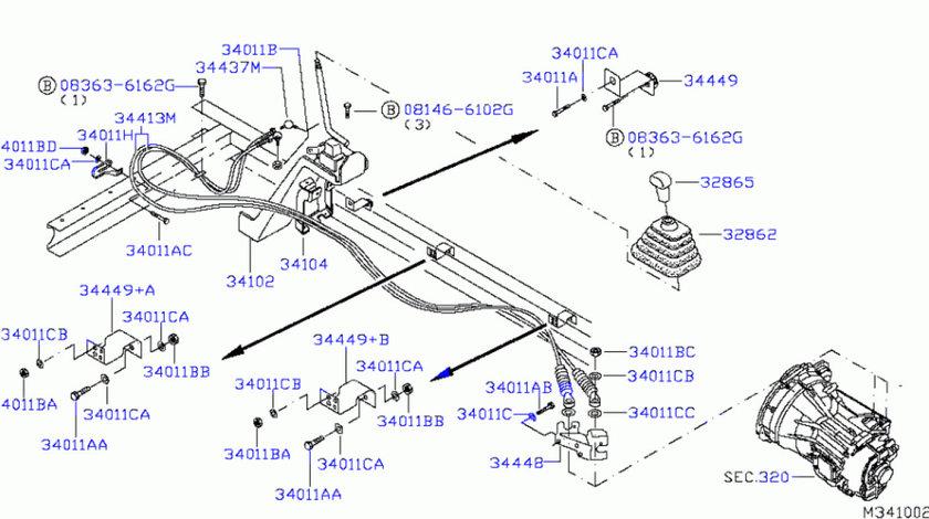 Cablu timonerie schimbator viteze Nissan Atleon L1/L2 3165/2805+2820/2470 mm COFLE 344139X201