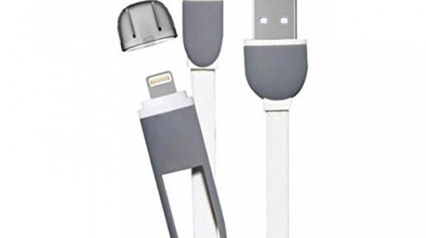 Cablu Usb 2 In 1 Microusb / Iphone Cu Capac Alb