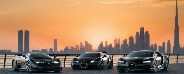 Cadre impresionante pe strazile din Dubai cu Sfanta Treime a francezilor de la Bugatti: EB110, Veyron si Chiron