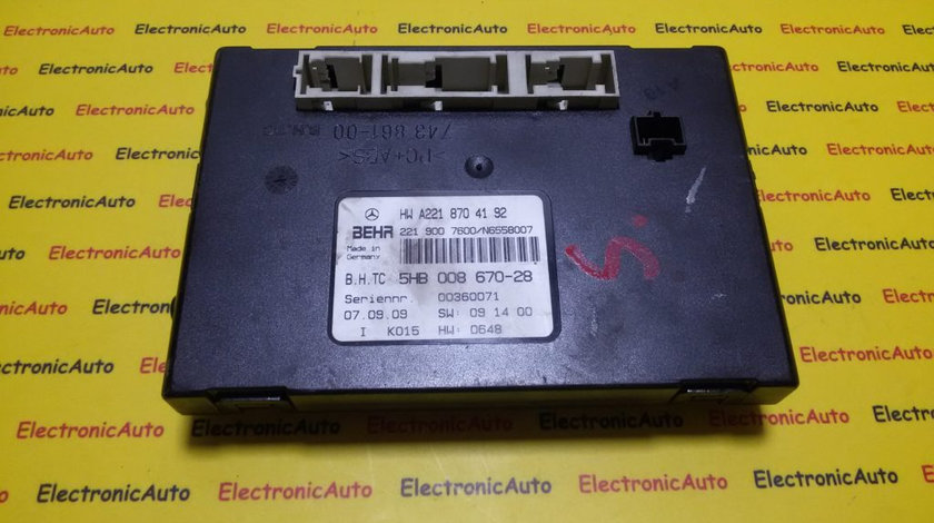 Calculator confort Mercedes S Class A2218704192, 5HB00867028 (W3AZD1)