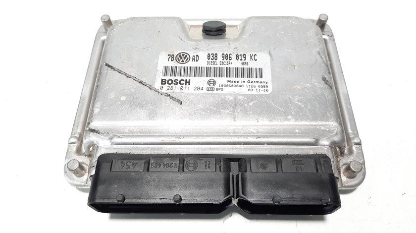 Calculator motor Bosch, cod 038906019KC, 0281011204, Audi A4 (8E2, B6), 1.9 TDI, AVB (idi:483314)