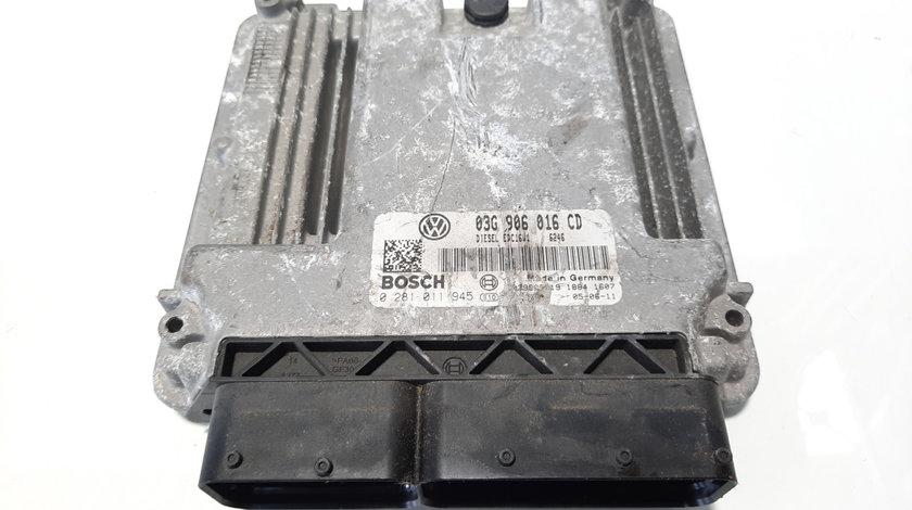 Calculator motor, cod 03G906016CD, 0281011945, Vw Touran (1T1, 1T2) 1.9 TDI, BKC (id:483468)