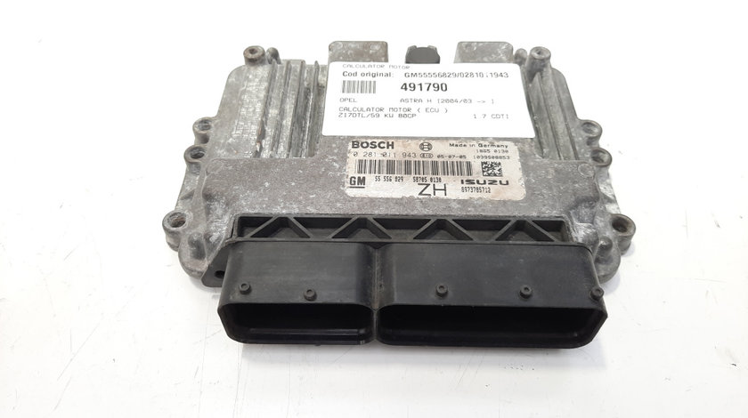 Calculator motor, cod GM55556829, 0281011943, Opel Astra G, 1.7 CDTI, Z17DTL (idi:491790)