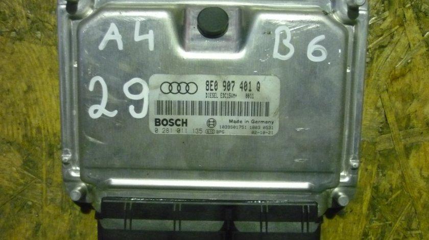 Calculator motor ECU Audi A4 B6, A6 C5, 2.5 tdi, 163cp, cod 8E0907401Q