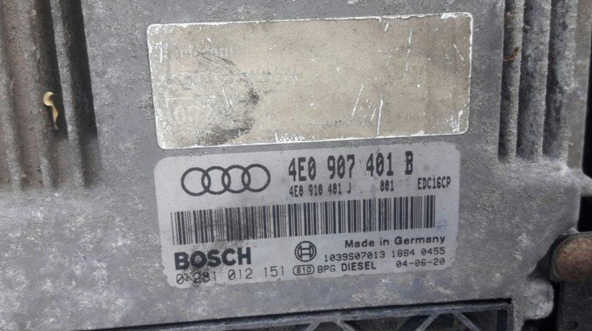 Calculator motor ecu cod 4e0907401b 0281012151 Audi A8 3.0tdi quattro asb 233hp 2002-09 motor a4 a6 piele