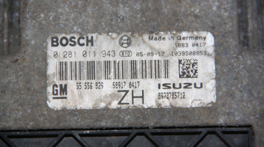 Calculator motor Opel Astra H 1.7 CDTI cod: 0281011943 / 55556829ZH model 2007