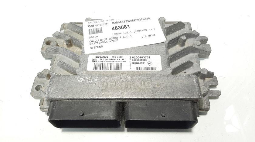 Calculator motor Siemens, cod 8200483732, 8200326380, Dacia Logan (LS) 1.4 B, K7J710 (id:483081)