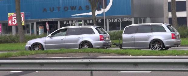 Cand pasiunea nu cunoaste limite: Audi-ul RS4 cu... remorca Audi RS4