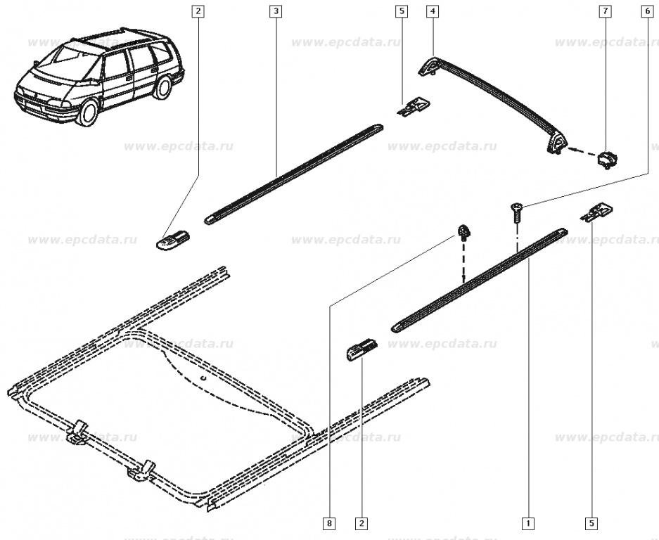 Cap de fixare bare portbagaj OE Renault Espace 2 , pentru bandou pavilion , original 6025171334 Kft Auto