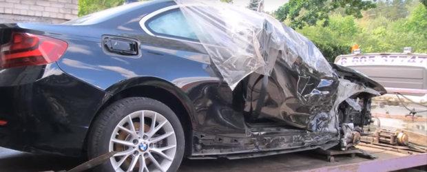 Capcana mortii sau nu? Un BMW Seria 2 avariat grav iese ca nou din mainile lui