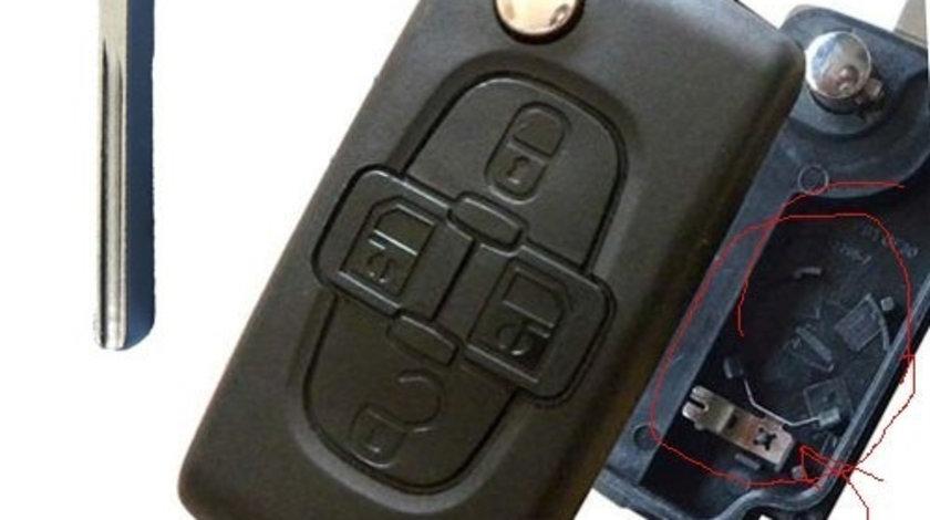 Carcasa cheie 4 butoane cu suport baterie si lamela canelura Citroen, cod Crcs362 - CC482626