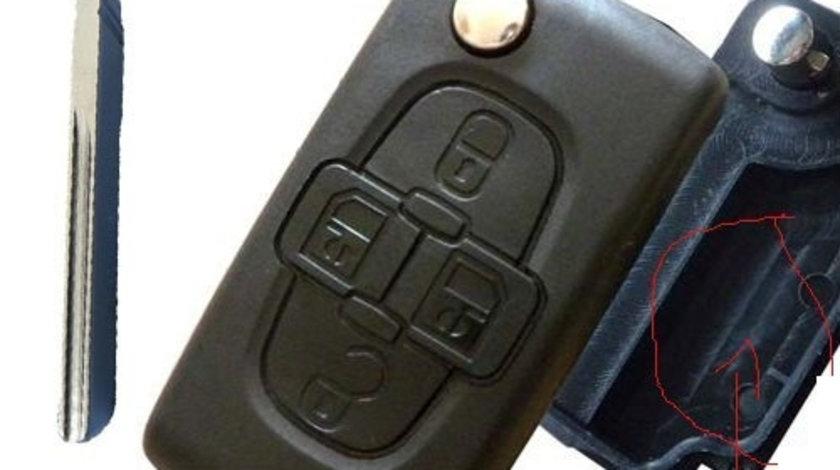 Carcasa cheie 4 butoane, fara suport baterie, cu lamela canelura Citroen, cod Crcs363 - CC482627