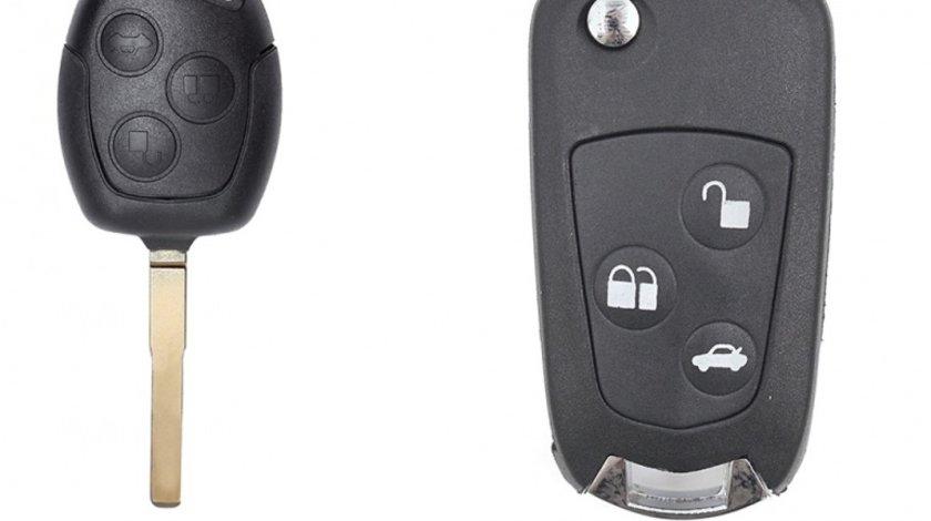 Carcasa cheie auto briceag cu 3 butoane FO-141 pentru transformare, compatibil Ford