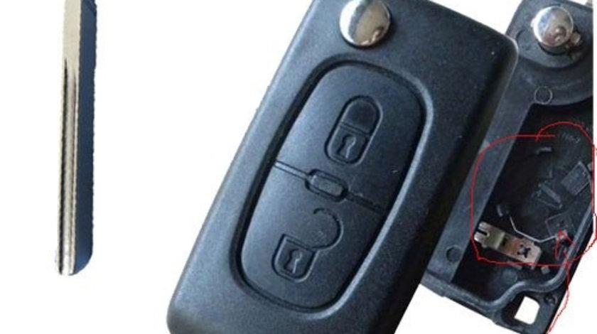 Carcasa cheie Citroen 407 2 butoane, suport baterie, lamela canelura, cod Crcs338 - CCC82602