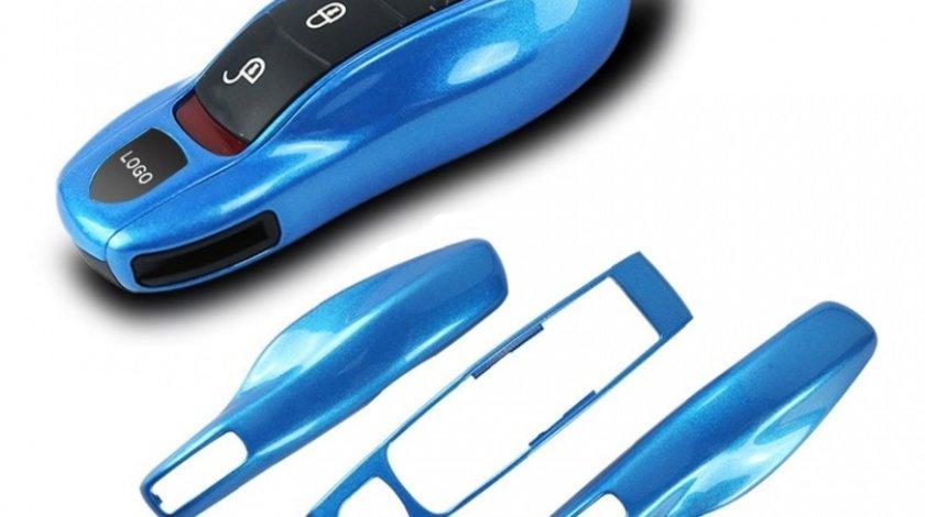 Carcasa Cheie Porsche Set 3 Buc Albastru Metalizat