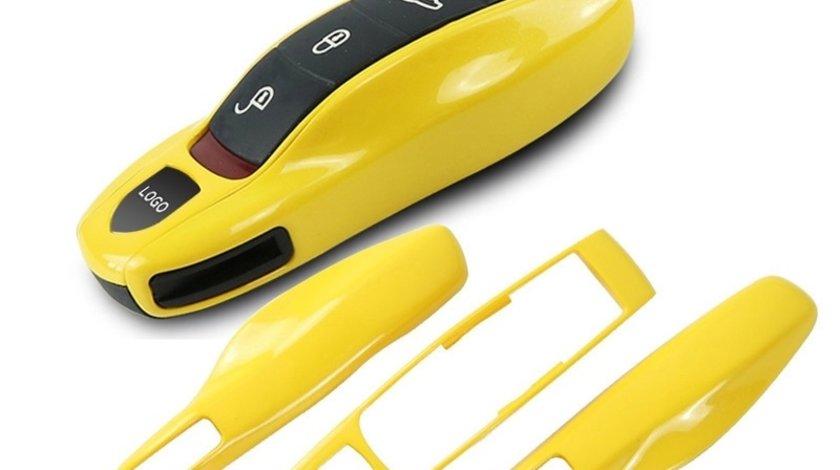 Carcasa Cheie Porsche Set 3 Buc Galben