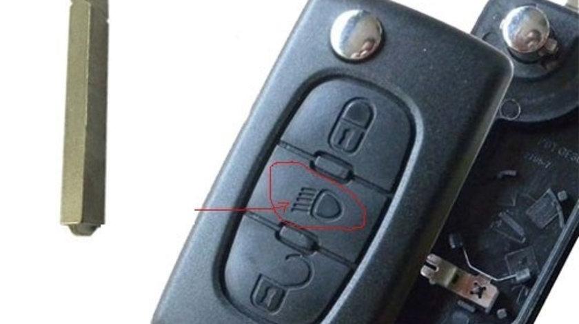 Carcasa cheie telecomanda 3 butoane, lamela fara canelura, cu suport baterie, led butoane Peugeot 407, cod Crcs787 - CCT83073
