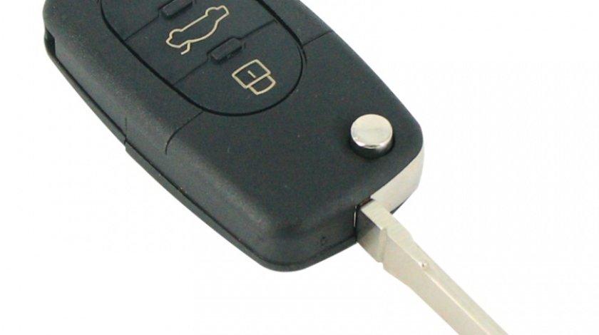 Carcasa cheie tip briceag Audi, model cu cu 3 butoane, pentru baterie tip CR2032, fara buton panica Kft Auto