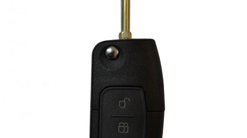 Carcasa telecomanda compatibila Ford cu 3 butoane cu lamela inclusa cheie tip briceag lamela cilindrica