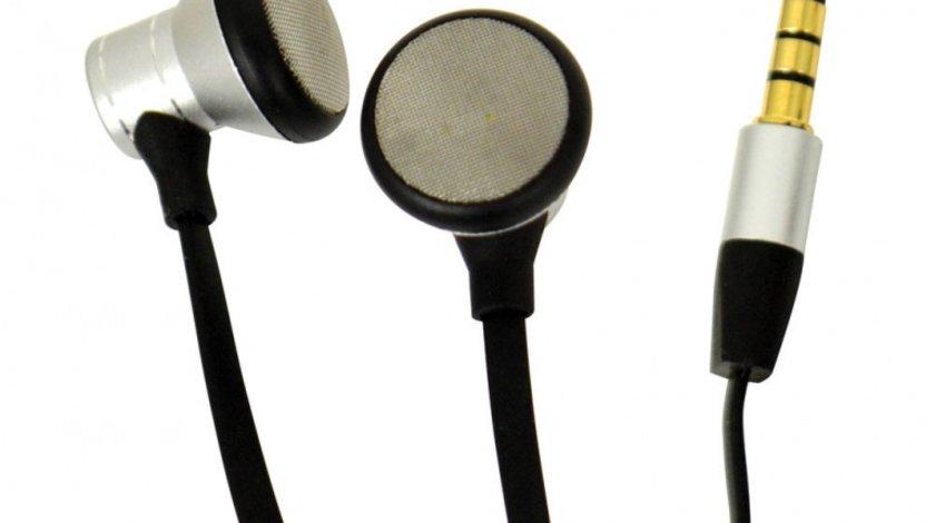 Casti audio handsfree pentru telefon cu microfon, Bass adaptiv, sistem anti-incalcire ,Carpoint 517005