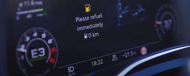Cati kilometri poate parcurge o masina de 600 CP cu becul de combustibil aprins? VIDEO cu cel mai tare experiment de pe internet