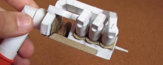 Ce mai poti face dintr-o bucata de hartie: motorul V6 complet functional