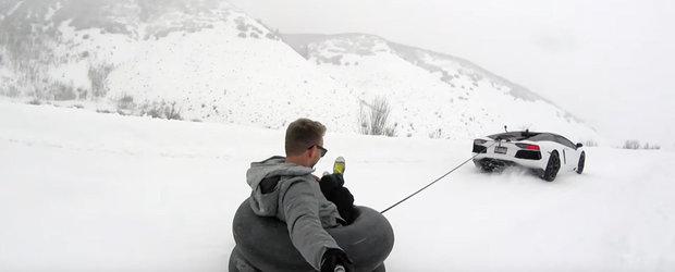 Ce poti sa faci cu un Lamborghini Aventador pe zapada? Ei bine, asta!