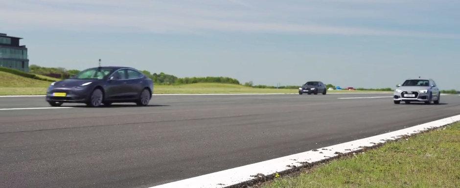 Cea mai ieftina masina de la Tesla bate Audi RS4 si BMW M3 de parca ar avea motoare diesel. VIDEO ca sa te convingi si singur