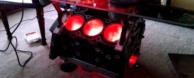 Cea mai tare masuta de cafea are la baza un motor V6 iluminat