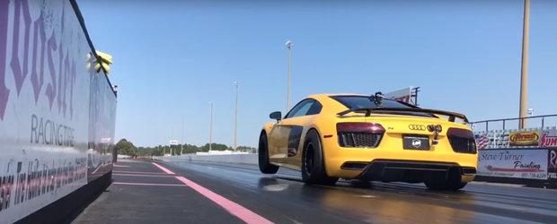 Cel mai rapid Audi R8 din lume se ridica pe doua roti si stabileste un nou record mondial. Video