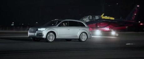 """Cel mai rapid SUV diesel din lume isi testeaza acceleratia... impotriva unui avion de vanatoare cu 10.600 CP sub """"capota"""""""