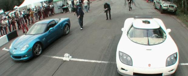 Chevrolet Corvette de 700 cp vs. Koenigseg CCXR de 1024 - care sa fie castigatorul?