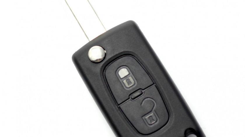 Citroen / Peugeot 407 - Carcasa tip cheie briceag cu 2 butoane, lama HU83-SH2 cu suport baterie
