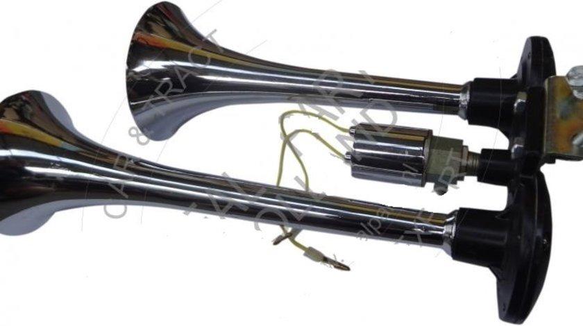 Claxon auto BestAutoVest 12v 300 + 230 mm, set 2 goarne , crom fara compresor