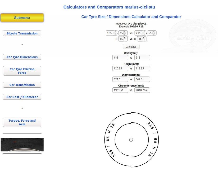 Comparare dimensiuni anvelope auto