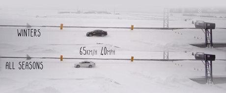 Comparatie intre anvelopele de iarna si cele all-season, cu acelasi tip de masina. VIDEO