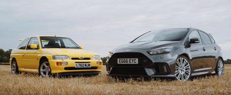 Comparatie intre doua ere diferite. Actualul Ford Focus RS intalneste legenda Escort RS Cosworth
