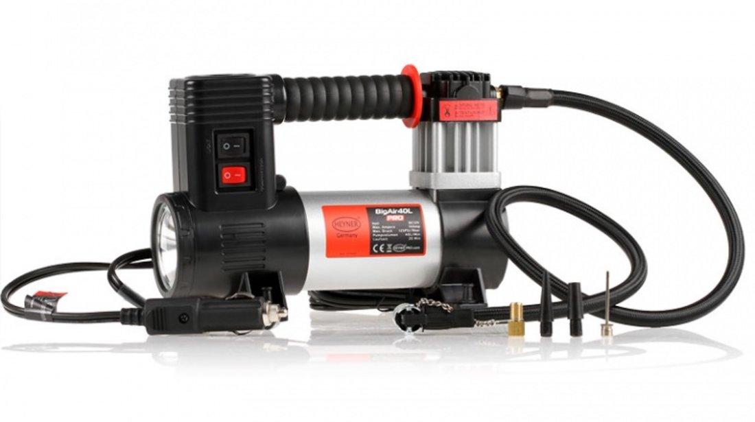 Compresor Auto Heyner Big Air 40L Pro Premium Cu Lampa Led 12V 237 100