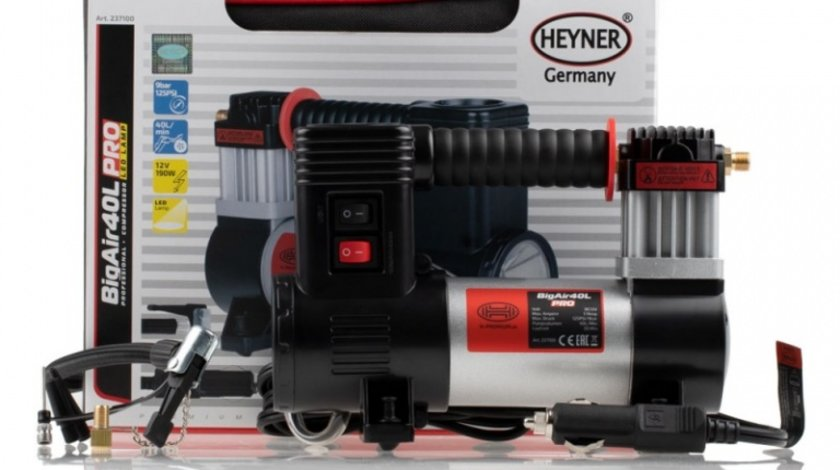 Compresor Auto Heyner Big Air 40L Pro Premium Cu Lampa Led 12V 237 100
