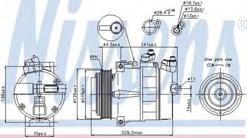 Compresor clima / aer conditionat MERCEDES C-CLASS (W202) (1993 - 2000) NISSENS 89022 produs NOU