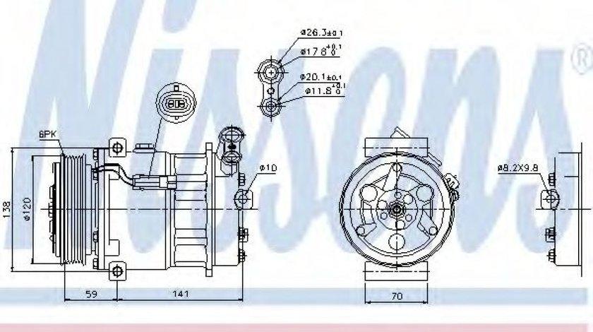Compresor clima / aer conditionat SAAB 9-3 Cabriolet (YS3F) (2003 - 2016) NISSENS 89124 produs NOU