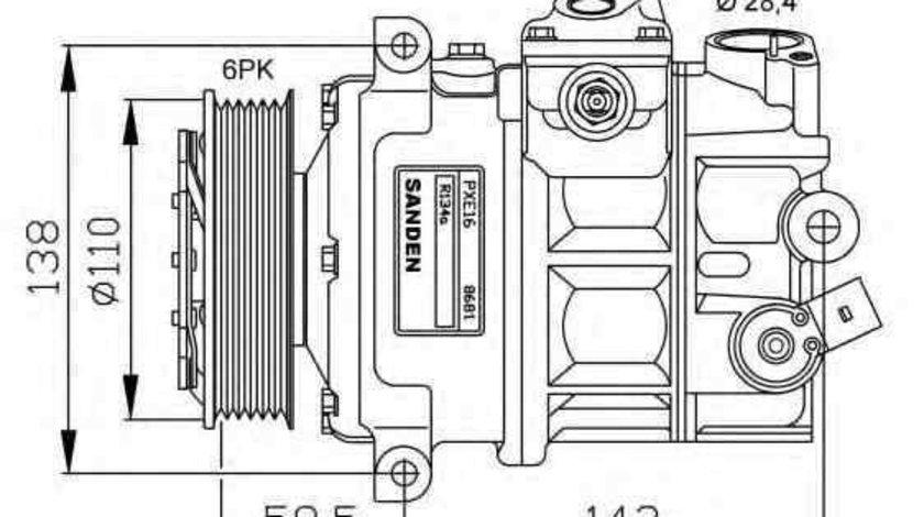 Compresor, climatizare AUDI A3 Sportback (8PA) NRF 32147G