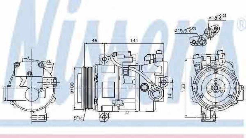 Compresor, climatizare BMW 3 (E90) Producator NISSENS 89043