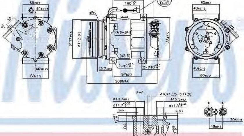 Compresor, climatizare FIAT DUCATO bus (250, 290) (2006 - 2016) NISSENS 89347 piesa NOUA
