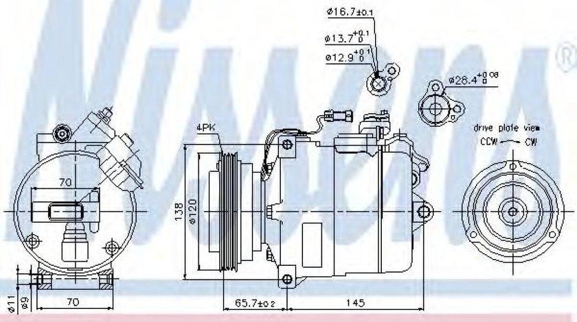 Compresor, climatizare VW PASSAT (3B2) (1996 - 2001) NISSENS 89027 piesa NOUA